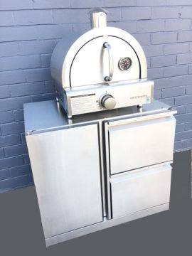 Compact BBQ & pizza oven trolley/stand