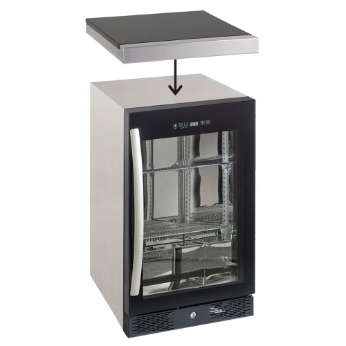 Galaxy black single fridge w/bench top