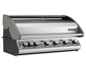SC57P: 6 Burner Sunco Vitreous Enamel Inbuilt BBQ with Stainless Steel Roast Hood